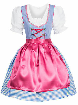 Dirndl Traditional Costume 3 Piece Dress Blouse Apron Blue Pink Size 34 to 44