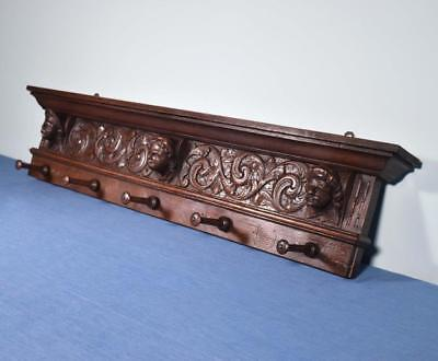 "*39"" Antique French Oak Coat Rack Hall Tree Wood Shelf w/Highly Carved Faces"