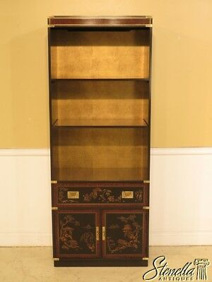 42973E: DREXEL Chinoiserie Paint Decorated Open Bookcase Cabinet