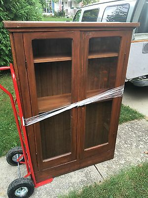 Antique Cabinet Book Case Display Walnut 12d43w64h Tongue And Groove Back