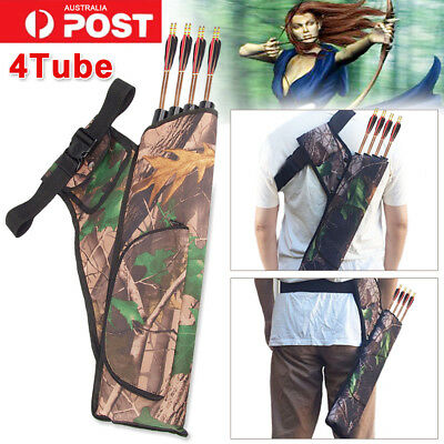 Hot! 4 Tubes Archery Arrow Holders Bag Back Side Waist Quiver Camo Hunting Sport