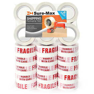 """36 Rolls """"Fragile - Handle w/ Care"""" Printed Tape (2""""x110 yard/330' ea) White/Red"""