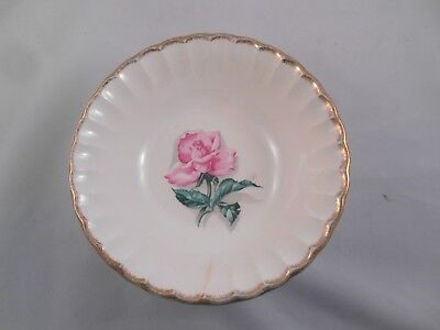 W.S. George Pink Rose Bolero with Gold Rim Serving Bowl Vintage China