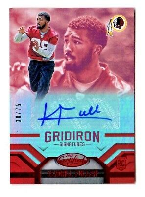 Kendall Fuller Nfl 2016 Certified Gridiron Signatures Mirror Red #/75 (Redskins)
