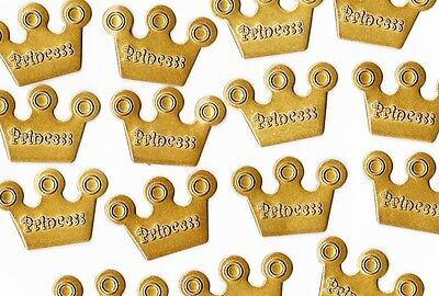 Pack of 30 Metal Princess Gold Charms great for Scrapbooking ***FREE POSTAGE***