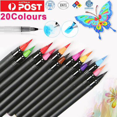 20-Color Watercolor Painting Pen Brushes Artist Sketch Drawing Marker Pens Kits