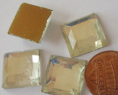100 Vintage German Glass 15mm Big Heavy Clear Square Stones