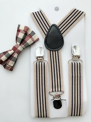 Kids Children Formal Party wedding Beige Brown Stripe Brace Suspender bowtie set