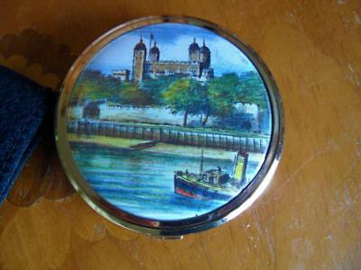Vintage Retro Ladies Gold Makeup Powder Compact Mirror Tower Of London Melissa