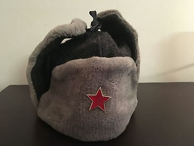 KB) Soviet Union Warsaw Pact Winter Ear Flap Army Military Wool Gray Hat Cap