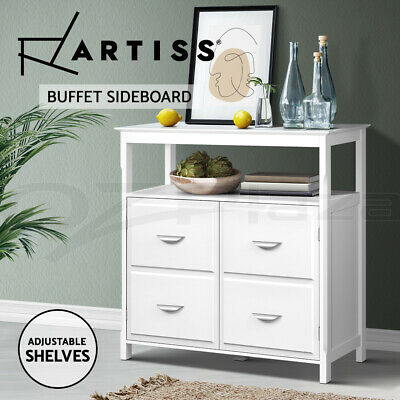 Kitchen Buffet Sideboard Wooden Dressers Cabinet Storage Table Cupboard White