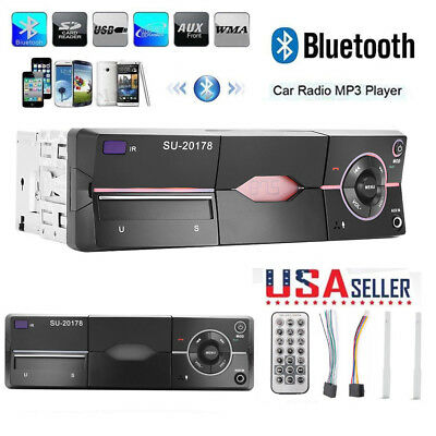 1 DIN Car Stereo 12V FM Radio SD/USB/AUX Bluetooth Remote Head Unit MP3 Player.