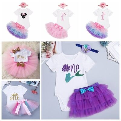 705de6a5902 Baby Girl 1st First Birthday Romper Dress Crown Tutu Skirt Cake Outfits Sets