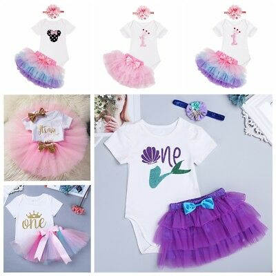 baby girl first 1st birthday outfit romper Tutu Skirt Photo shoot cake smash