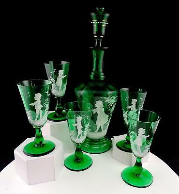 "Bohemian Czech Art Glass 6 Pc Mary Gregory Green 14"" Decanter  Glasses Set&"