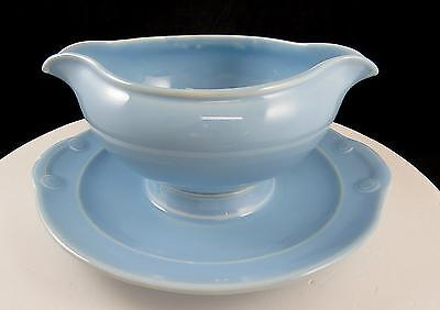 """Taylor Smith Luray Pastels Blue 7 3/4"""" Gravy Boat & Attached Under Plate 1938-60"""