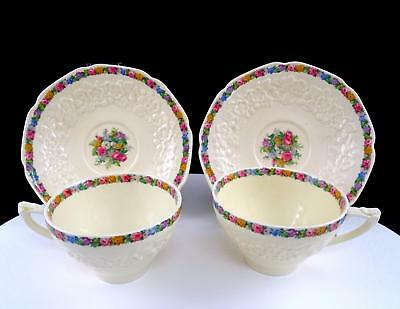 """Crown Ducal Gainsborough Charm #7496 Floral Two Piece 2 1/4"""" Cup And Saucer Set"""