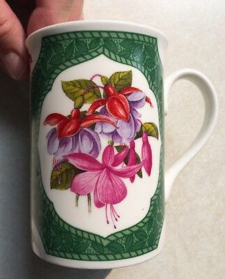 "ROYAL GRAFTON Bone China MUG Made in England-Floris -Fuschia 4"" Tall"