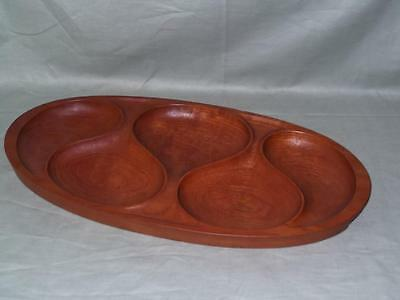 Laur Jensen Danish Teak Sectioned Wooden Tray with 5 Teardrop Compartments