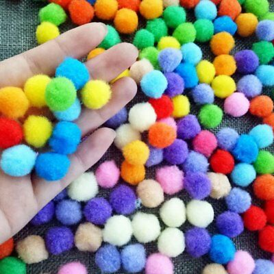 300Pcs DIY Pom-Pom Soft Fluffy Balls Felt Card Embellishments Kids Pompoms Toy