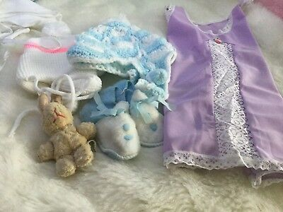 GIRLS VINTAGE  FOUR PIECE  BUNDLE HAT/SHOES ETC UNUSED 3/9m 1970s AUTHENTIC