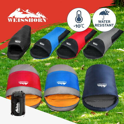WEISSHORN Camping Envelope Sleeping Bag Single Thermal Hiking Winter -10°C -15°C