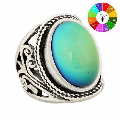 Mood Ring Changing Color Antique Sterling Silver Vintage Statement Rings Women