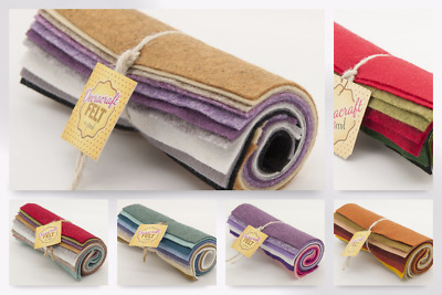 Wool Blend Felt Pieces in a Roll - per pack of 10 (FR1-Mix1-M)