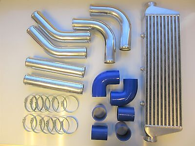 "Universal Front Mount Intercooler Kit FMIC 57mm 2.25"" BLUE HOSES 550x180x65 Core"