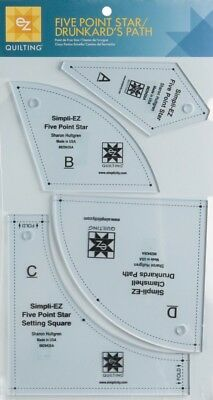 EZ Five Point Star Drunkards Path Acrylic Quilting Template (8829426A)