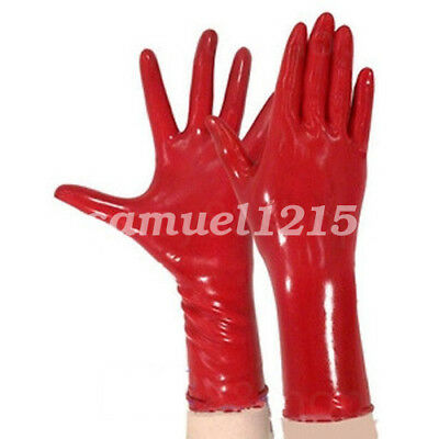 Latex Pure Nature Cool   Rubber Lace Gloves Five Fingers Gloves Red Size S-XL