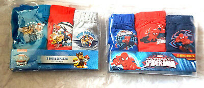 Boys Spiderman Paw Patrol Underpants Briefs 18-24 mths 2 - 3 Yrs New