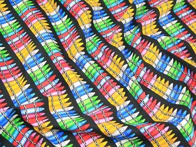 Timeless Treasures Crayons Poplin Quilting Fabric C1488-Black-M