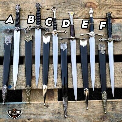 "13"" Medieval Arthur King LOTR Historical Short Dagger Sword Fixed Blade Knife"