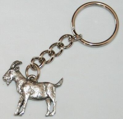 Goat Fine Pewter Keychain Key Chain Ring USA Made