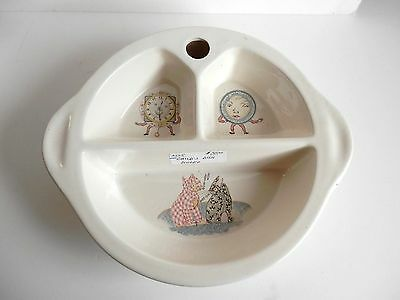 VINTAGE POTTERY EXCELLO CHILD'S WARMING DISH Calico Cat & Gingham Dog 1940's