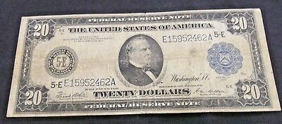 "1914 $20 Federal Reserve Note Blue Seal Small Tear 1/4""       (4807)"