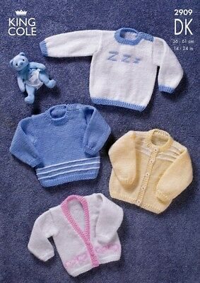 King Cole Baby Sweaters & Cardigans Big Value Knitting Pattern 2909 DK (...
