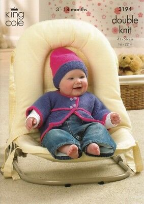 King Cole Baby Cardigans, Sweater & Hat Comfort Knitting Pattern 3194 DK...