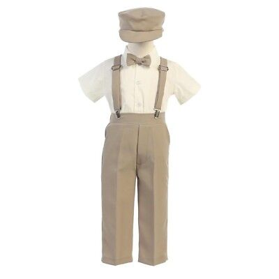 Lito Baby Boys Khaki Suspender Pants Hat Outfit Set 18-24M