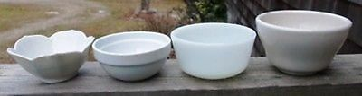 ~ Lot Of 4 Vintage White Ceramic Ramekins/Custard/Spice Bowls ~ All Different ~