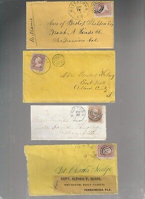 Us Early Cover  New Tork  Fancy Cancel   Postal History Lot Of 4