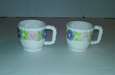 2 Hallmark Coffee Mugs Cups Basket Weave Flowers