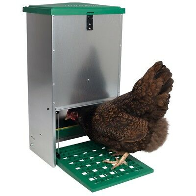 20kg Haven Hens Chicken Galvanised Treadle Poultry Feeder Avoid Feed Waste&Pests