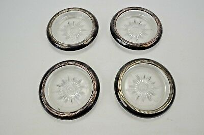 Set of 4 Vintage Silverplate & Starburst Glass Coasters Ashtrays LEONARD Italy