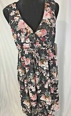 Siren Lily Maternity Mom to be Women's Dress Size Large Black Floral New (M91)
