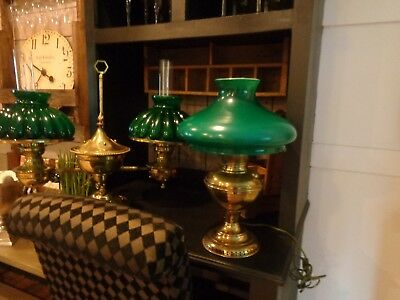 Awesome Brass Converted Antique Oil Electric Desk Lamp Green Shade Glass ESTATE