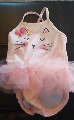 Gymboree Baby Girl 6-12 Months Pink Meow Kitty Cat One-Piece Tutu Swimsuit NEW