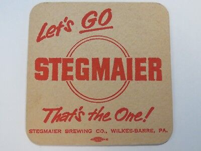 Vintage Beer Coaster ~ STEGMAIER Brewing Co ~ Wilkes-Barre, PENNSYLVANIA