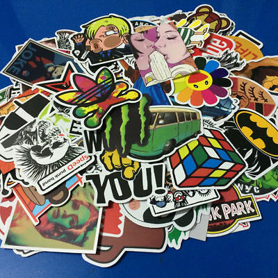 100 Pieces Stickers Skateboard Sticker Graffiti Laptop Car Luggage Decals New